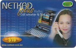 Brunei - JTB - NETKAD Plus (Blue), Call & Surf Smarter, Prepaid 10$, Used - Brunei