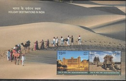 INDIA, 2018, MNH, HOLIDAY DESTINATIONS IN INDIA, TEMPLES, CAMELS, MUSIC, SHEETLET - Holidays & Tourism