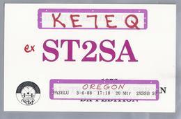 US.- QSL KAART. CARD. KE7EQ Ex ST2SA. BILL RINDONE. NORTHERN CALIFORNIA DX FOUNDATION. OAKLAND.. U.S.A. - Radio-amateur