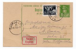1949 YUGOSLAVIA, SLOVENIA, LJUBLJANA TO ŠKOFJA LOKA, TITO, STATIONERY CARD, EXPRESS MAIL - Postal Stationery
