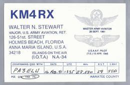 US.- QSL KAART. CARD. KM4RX. WALTER N. STEWART, MAJOR U.S.ARMY AVIATION, RET. HOLMES BEACH, FLORIDA. ANNA MARIA ISLAND. - Radio-amateur