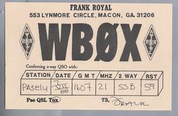 US.- QSL KAART. CARD. WBØX. FRANK ROYAL. LYNMORE CIRCLE, MACON, GEORGIA. U.S.A. - Radio-amateur