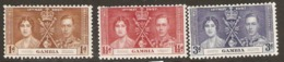 Gambia  1937  SG  147-9  Coronation  Mounted Mint - Gambia (...-1964)