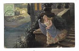 Gerstenhauer  -   Nuit , Pleine  Lune  , Belle  Dame Tres  Bien  Habille   à  Coté  De  Chateau - Andere Illustrators
