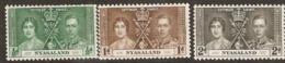 Nyasaland  1937  SG 127-9  Coronation   Mounted Mint - Nyasaland (1907-1953)
