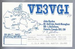 CA.- QSL KAART. CARD. VE3VGI. JOHN HARDEN, SOUTH MONAGHAN, BAILIEBORO, ONTARIO, CANADA - Radio-amateur