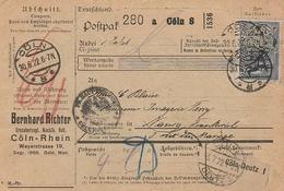 DR INFLA 1922 PAKETKARTE TIMBRES PERFORES BH  CÖLN   PK62 - Deutschland
