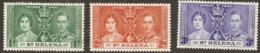 St Helena  Outh Africa  1937  SG 128-30  Coronation  Mounted Mint - Saint Helena Island