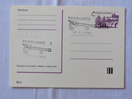 Czechoslovakia 1991 FDC Stationery Postcard - Plane Cancel - Bridge - Pardubice - Covers & Documents