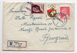1969 YUGOSLAVIA, SLOVENIA, GORICA PRI SLIVNICI TO BELGRADE, TITO IMPRINTED STAMP ON COVER, OLYMPIC STAMP - Postal Stationery