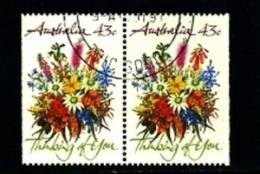 AUSTRALIA - 1990   43c  GREETINGS STAMP   PAIR FROM BOOKLET  FINE USED - 1990-99 Elizabeth II