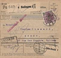 DR INFLA 1922 PAKETKARTE BULLETIN D EXPEDITION  SOLINGEN  PK69 - Germany