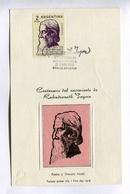 RABINDRANATH TAGORE, CENTENARIO DE NACIMIENTO. CARTE ARGENTINE 1961 FDC. TARJETA ARGENTINA DIA DE EMISION -LILHU - Famous People