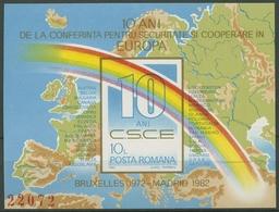 Rumänien 1982 10 Jahre KSZE Regenbogen Block 190 Postfrisch (C91996) - Blocks & Kleinbögen