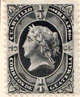 GUATEMALA - (République) - 1876 - N° 7 - 1/4 R. Noir - (Figure Allégorique) - Guatemala
