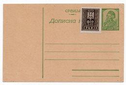 1943 WWII SERBIA, VUK KARADZIC 1.50 DIN, STATIONERY CARD - Postal Stationery