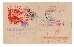 08.10. 1915, WWI,  SERBIA, CENSORED BY MAIN MILITARY CENSOR NIS, IN RED, STATIONERY CARD - Serbia