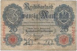 Alemania - Germany 20 Mark 19-2-1914 Pk 46 B Serie De 7 Dígitos Ref 39-2 - [ 2] 1871-1918 : Imperio Alemán