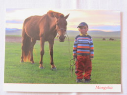 Mongolia Around 2018 Unused Postcard - Boy With Horse - Mongolie