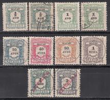 1904, Tasas, Yvert Nº 1, 2, 8, 9, 10, 11, 12, 14, - Macao