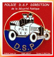 SUPER PIN'S POLICE : DIRECTION DE LA SECURITE PUBLIQUE; PHR Policiers HORS RANGS  ZAMC Or Signé DECAT 2,8X2,5cm - Police