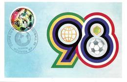 COUPE DU MONDE DE FOOTBALL 1998 - 1er Jour 5-6-98 à NOUMÉA RP - Dessin Original VERET-LEMARINIER - FDC