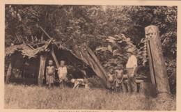 New Hebrides, Vanuatu, Totems Of Rano, European Man With Native Children And Dog, C1920s/30s Vintage Postcard - Vanuatu