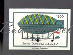 K9-292 CZECHOSLOVAKIA 1968 Development Of Transport 1900 Santos Dumont Zeppelin Airship Zepelín - Matchbox Labels
