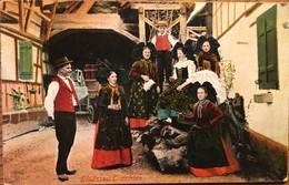 CPA,Elsässer Trachten Costumes Alsaciens écrite En 1932,cachet Strasbourg PL Gare, Foire Expo,timbre ... - Costumes