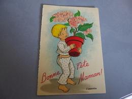 BELLE ILLUSTRATION ...JEUNE ENFANT ET FLEURS ...BONNE FETE MAMAN ...SIGNE F.BURGUIERE - Fête Des Mères