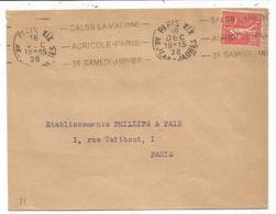 N° 199 LETTRE MEC KRAG SALON LA MACHINE ACRICOLE PARIS XIX AV JEAN JAURES 18 DEC 1928 RARE - Oblitérations Mécaniques (flammes)