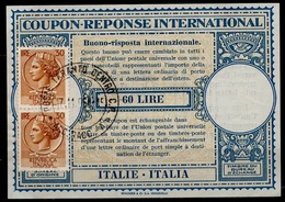 ITALIA / ITALIE / ITALY Lo14 60 LIRE + Vertical Pair 30 LIRE Int. Reply Coupon Reponse AntwortscheinIAS IRCo TARANTO - Entero Postal