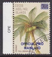 Cocos Keeling Islands 1991 Official Ovpt Sc O1 Used Cto - Kokosinseln (Keeling Islands)