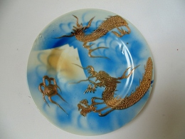 Interesting Japan Porcelain Plate With Gold Dragon And Signature - Matsukawa, Dai Nippon, Meiji (1868-1912) - Céramiques