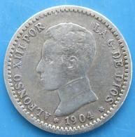ESPAGNE 50 Centimos Alphonse XIII / Emblème Couronné, 1904 SM, TB - [ 1] …-1931 : Reino