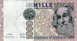 Billet De L'Italie De 1000 Lire Le 3 Octobre 1990 En S U P-signature Ciampi Et Stevani - - [ 2] 1946-… : République