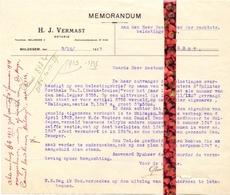 Brief Lettre - Memo Notaris H.J. Vermast Maldegem - Naar Kadaster 1927 Ivm Eigendom De Meyer Kamiel + Brief Met Antwoord - Vieux Papiers