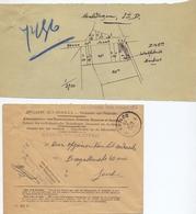 Brief Lettre - Klein Kadasterplan Maldegem Tabakfabriek Martens  + Enveloppe Stempel Eecloo 1927 - Vieux Papiers