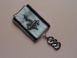 MASONIC * FREEMASONS * FONTE * VRIJMETSELARIJ Medaille (Zwart/Wit Lint > Zie / Voir Foto Voor Détail ) ! ! - Organizations