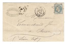 N° 22 Sur LETTRE MALDAN FRERES Rue Du SENTIER PARIS 12 MAI 1870 ETOILE 24 RUE De CLERY Pour ROUEN - Marcophilie (Lettres)