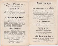 ANTWERPEN-CINE-REX-DAVID KNIGHT+JUNE THORNBURN-10.03.1956-PREMIERE-FILM-DOKTER OP ZEE+-10-15CM-ZIE DE 2 SCANS-RARE! ! - Publicité Cinématographique