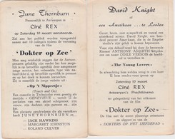 ANTWERPEN-CINE-REX-DAVID KNIGHT+JUNE THORNBURN-10.03.1956-PREMIERE-FILM-DOKTER OP ZEE+-10-15CM-ZIE DE 2 SCANS-RARE! ! - Bioscoopreclame