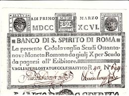 Stato Pontificio,Cedola Vaglia Scudi 89 Moneta Romana. Vaglia Per Lo Stato Ecclesiastico 01 Marzo 1796 Ottima Conserv. - Vaticano