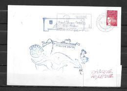 Batral JACQUES CARTIER  - Mission SANTAL - Flamme   PARIS NAVAL 10:03:00 - Marcophilie (Lettres)