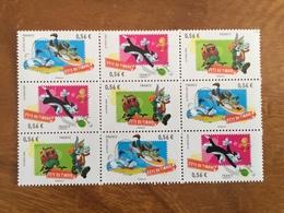 FETE DU TIMBRE 2009 LOONEY TUNES Bloc De 9 Timbres En Triptyques  Y&T 4338 à 4340 - Neufs ** - Unused Stamps