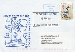 Mission CORYMBE 130 Frégate GERMINAL  Cachet V SPID 10378 - 08/09/2015 - Posta Marittima