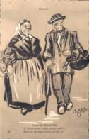 AU PAYS VENDEEN ILLUSTRATION DE G. GOEAU BRISSONNIERE VIEUX MARAICHINS CIRCULEE SOUS ENVELOPPE - Andere Illustrators