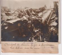 ACCIDENT DE CHEMIN DE FER MONTREAU LES DÉRIVES SUR LA VOIE 18*13CM Maurice-Louis BRANGER PARÍS (1874-1950) - Trenes