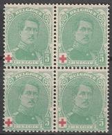 Belgie    .    OBP   .    129  Blok Van 4          .      **       .   Postfris    .  / .  Neuf Sans  Charniere - 1914-1915 Croix-Rouge