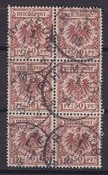 Germany Reichspost 1889 Mi. 50b     50 Pf. Reichsadler Im Kreis (braunrot) 6-Block HAMBURG 1895 Cancel !! - Blocks & Kleinbögen